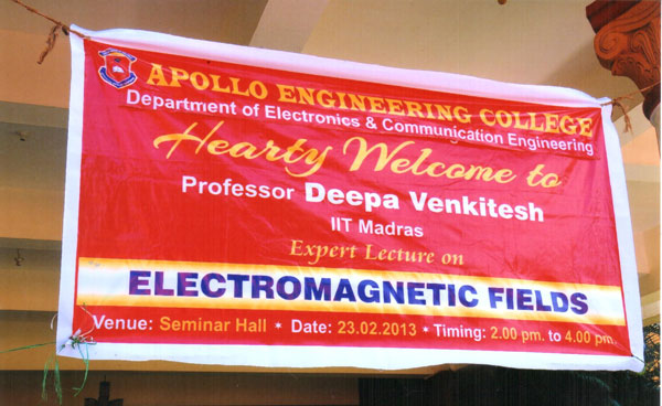 Expert Lecture on 'Electromagnetic Fields', by Prof. Deepa Venkitesh, IIT Madras, organised by Dept of ECE on 23 Feb 2013