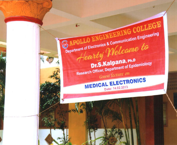 Guest Lecture on 'Medical Electronics', by Dr.S.Kalpana, Research Officer, Dept of Epideiology, organised by Dept of ECE on 14 Feb 2013