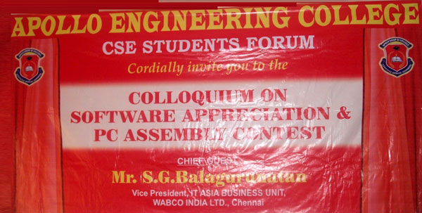 Colloquium on Software Appreciation & PC Assembly Contest, organised by CSE Forum on 31 Jan & 01 Feb 2014