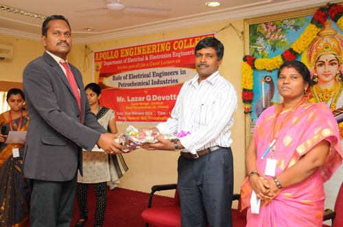 Guest  Lecture on 'Role of Electrical Engineers in Petrochemical Industries', organised by Dept of EEE, on 21 Feb 2014