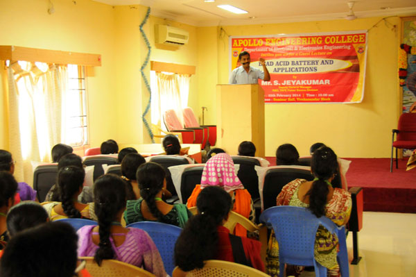 Guest Lecture on Lead Acid Battery and Applications Organised by Dept of EEE, on 25 Feb 2014