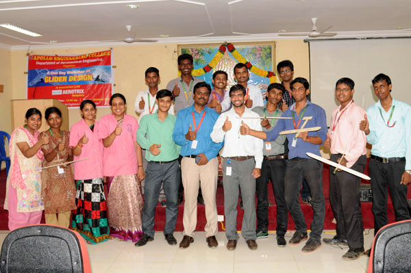 Workshop on Glider Design by Aerotrix, Bangalore at Apollo Engineering College, on 25 July 2014