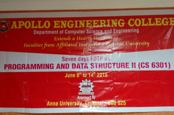 FDP on Programming and Data Structure II (CS 6301) organized by dept CSE, Eminent Professors form IIIT, like  Dr.Sadagopan and Dr.Arcokia Xavier Annie along with three in-house training experts from AEC, on 08 - 14 June 2015