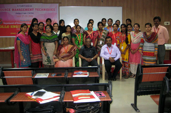 A Crash Course on Resource Management Techniques (CS6704), organized by Dept of CSE, on 27 - 29 Jun  2016